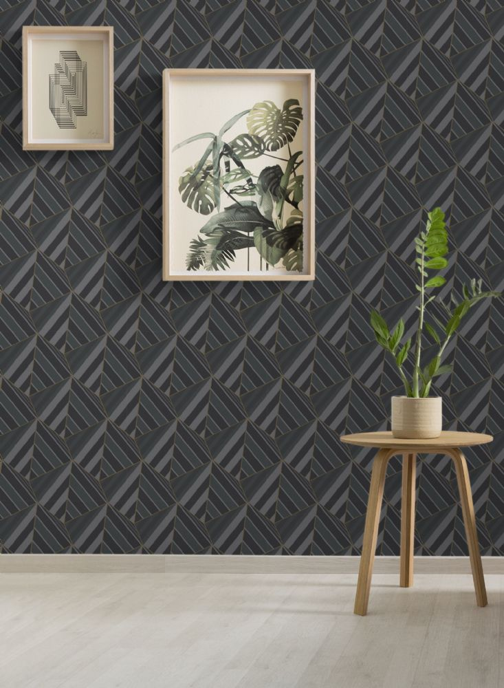 Grandeco Prism Black Geometric A38002 Wallpaper